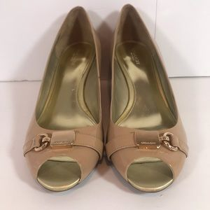 Coach Nude Patent Wedges